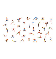 crowd tiny people performing yoga exercises vector image