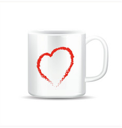 cup of love with red heart vector image