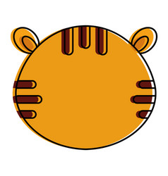 Cute and tender tiger head character vector