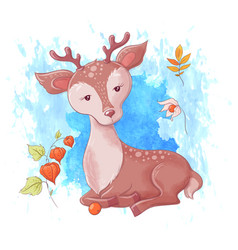 cute cartoon deer autumn and leaves vector image