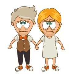 Cute couple character sixty style vector