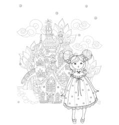 Cute girl in fairy cartoon town doodle vector image