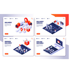 delivery services landing pages of vector image