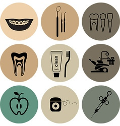 Dental icons in color vector