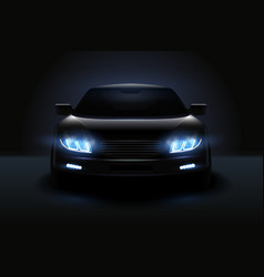 Dimmed headlights realistic composition vector