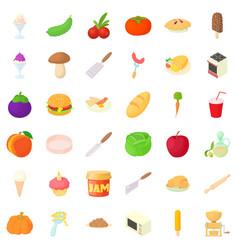 dish icons set cartoon style vector image