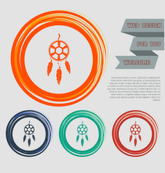 Dreamcatcher icon on the red blue green orange vector