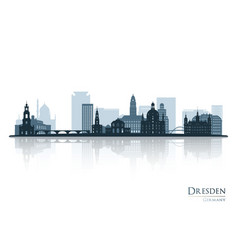 dresden skyline silhouette with reflection vector image