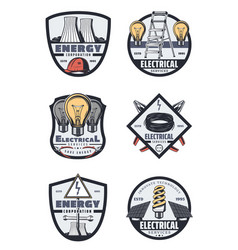 Electrical service and power industry retro badges vector