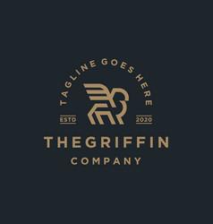 Elegant griffin vintage retro logo template vector