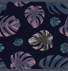 exotic abstract monstera leaves seamless black vector image