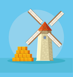 Farm windmill with straws vector