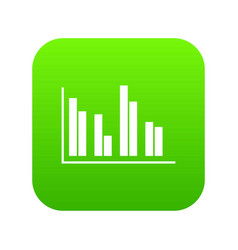Financial analysis chart icon digital green vector