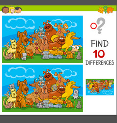 find differences game with cats and dogs vector image