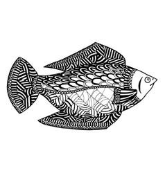 Fish zentangle undersea world zen tangle and vector