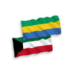 Flags gabon and kuwait on a white background vector