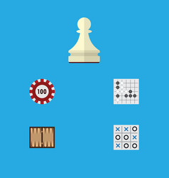 flat icon play set of gomoku pawn poker and vector image