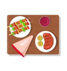 food picnic collection dishes vector image