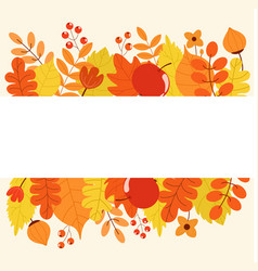 frame with autumn leaves apple berries flowers vector image