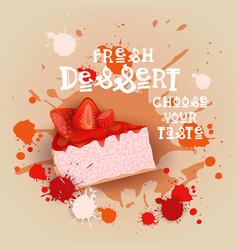 fresh dessert banner colorful cake sweet beautiful vector image