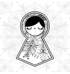 Geometric Babushka Matryoshka Doll vector image