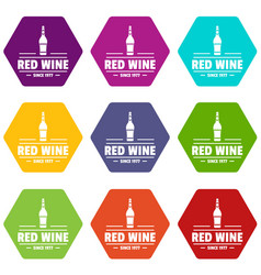 glass wine icons set 9 vector image