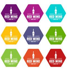 glass wine icons set 9 vector image