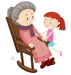 Grandmother on the rocking chair and girl vector