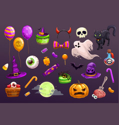 Halloween items set spooky elements for vector