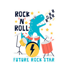 hand drawn rock and roll elements and dinosaur vector image