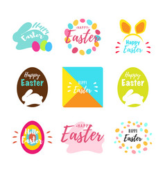 happy easter greeting cards with bunny eggs and vector image