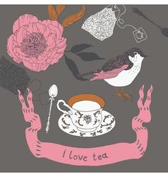i love tea vector image