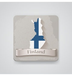 Icon of Finland map with flag vector image
