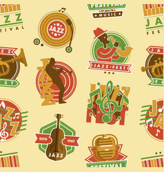jazz music festival label with saxophone wind vector image
