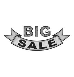 Label ribbon big sale icon gray monochrome style vector