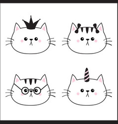 Linear cat head face silhouette icon set crown vector