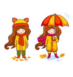 little girls in coats and big knitted scarves vector image