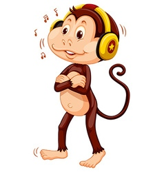 Little monkey with headphone on his head vector