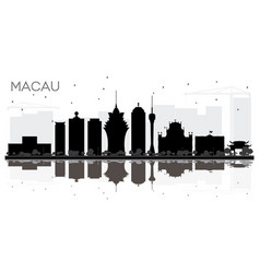 Macau china city skyline black and white vector