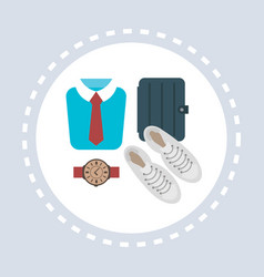 male shoes t-shirt watch briefcase shopping icon vector image