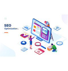 man and woman making seo optimization at office vector image