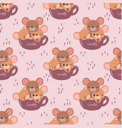 Mice seamless pattern vector