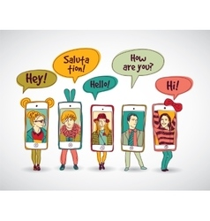 Mobile phones standing group communication people vector image
