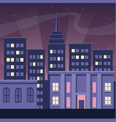night city buildings urban dark scape style vector image