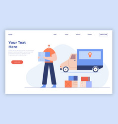 online delivery service concept courier vector image