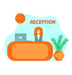 Orange reception desk in hotel vector
