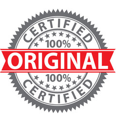 original stamp 100 certified original badge vector image