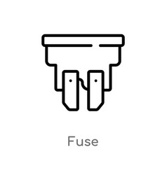 Outline fuse icon isolated black simple line vector
