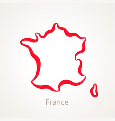 Outline map of france marked with red line vector