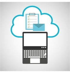pc cloud email checklist digital web vector image